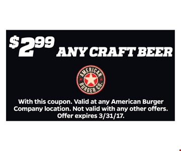 $2.99 Any Craft Beer