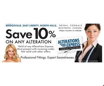 Save 10% On Any Alterations