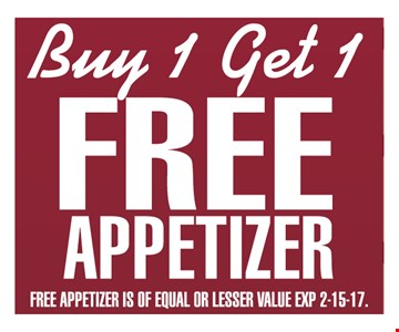 buy 1 get 1 free appetizer
