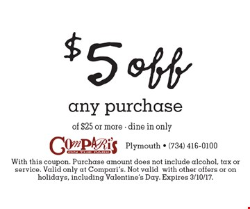 $5 off any purchase. With this coupon. Purchase amount does not include alcohol, tax or service. Valid only at Compari's. Not validwith other offers or on holidays, including Valentine's Day. Expires 3/10/17.