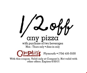 1/2 off any pizza with purchase of two beverages. Mon-Thurs only. Dine-in only. With this coupon. Valid only at Compari's. Not valid with other offers. Expires 6/30/17.