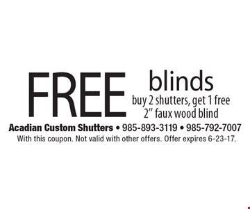 Free blinds buy 2 shutters, get 1 free 2