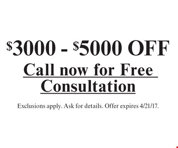 $3000 - $5000 OFF a sunroom. Exclusions apply. Ask for details. Offer expires 4/21/17.