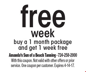 Free week. Buy a 1 month package and get 1 week free. With this coupon. Not valid with other offers or prior service. One coupon per customer. Expires 4-14-17.