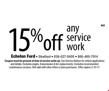 15% off any service work. Coupon must be present at time of service write up. See Service Advisor for vehicle applications and details. Excludes engine, transmission & tire replacements. Excludes recommended maintenance services. Not valid with other offers or prior purchases. Offer expires 2-10-17.