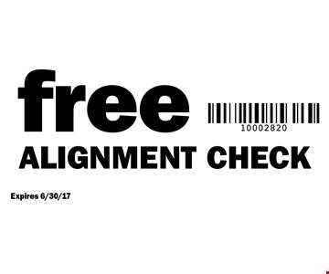 Free alignment check. Expires 6/30/17.