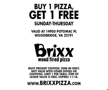 FREE pizza. Buy 1 pizza,get 1 free. Sunday-Thursday. Must present coupon. Dine-in only. Not valid with other offers or coupons. Limit 1 per table. Item of lesser value is free. Expires 1-1-18.