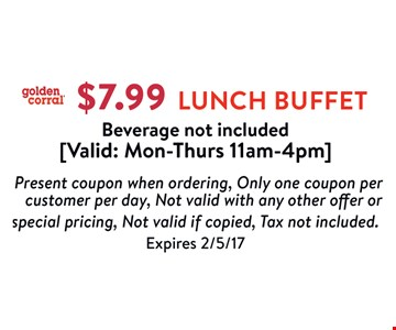 $7.99 Lunch Buffet