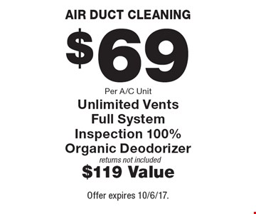 AIR DUCT CLEANING. $69 Per A/C Unit. Unlimited Vents. Full System Inspection 100% Organic Deodorizer returns not included $119 Value. Offer expires 10/6/17.