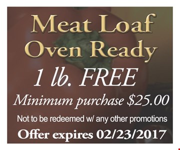 Meat loaf oven ready. 1lb free