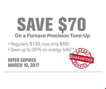Save $70 On a Furnace Precision Tune-Up