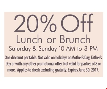 20% off lunch or brunch