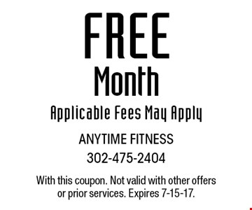 Free Month Applicable Fees May Apply. With this coupon. Not valid with other offers or prior services. Expires 7-15-17.