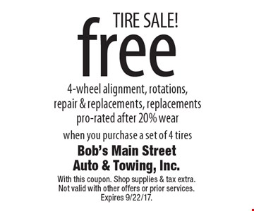TIRE SALE! free 4-wheel alignment, rotations,repair & replacements, replacements pro-rated after 20% wear when you purchase a set of 4 tires. With this coupon. Shop supplies & tax extra.Not valid with other offers or prior services. Expires 9/22/17.