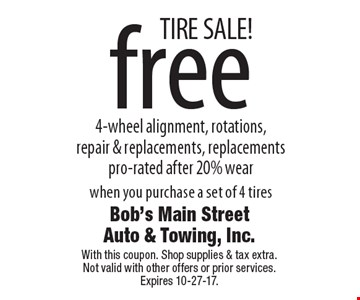 TIRE SALE! Free 4-wheel alignment, rotations, repair & replacements. Replacements pro-rated after 20% wear when you purchase a set of 4 tires. With this coupon. Shop supplies & tax extra. Not valid with other offers or prior services. Expires 10-27-17.