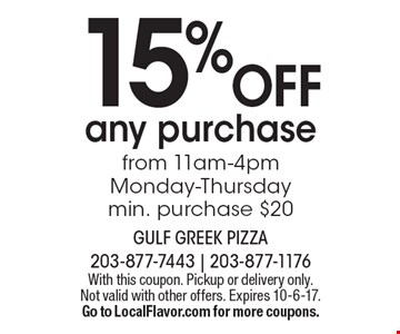15% OFF any purchase from 11am-4pm Monday-Thursday min. purchase $20. With this coupon. Pickup or delivery only. Not valid with other offers. Expires 10-6-17. Go to LocalFlavor.com for more coupons.
