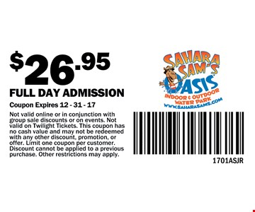 $26.95 full day admission