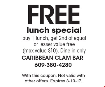 Free lunch special - buy 1 lunch, get 2nd of equal or lesser value free (max value $10). Dine in only. With this coupon. Not valid with other offers. Expires 3-10-17.