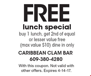 Free lunch special. Buy 1 lunch, get 2nd of equal or lesser value free (max value $10) dine in only. With this coupon. Not valid with other offers. Expires 4-14-17.