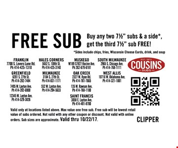Free Sub with purchase