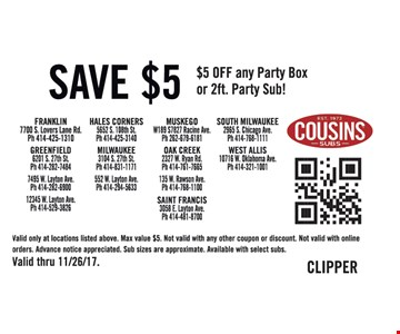 Save  $5 off any party box