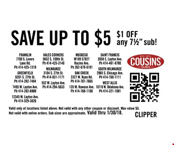 Save up to $5 -  $1 off any 7 1/2