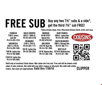 Free Sub buy any two 71/2