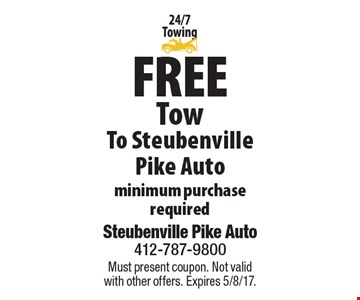 Free Tow To Steubenville Pike Auto. Minimum purchase required. Must present coupon. Not valid with other offers. Expires 5/8/17.