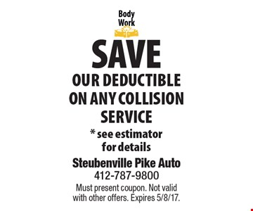 Save our Deductible On Any Collision Service. *See estimator for details. Must present coupon. Not valid with other offers. Expires 5/8/17.