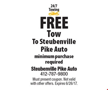 Free Tow To Steubenville Pike Auto. Minimum purchase required. Must present coupon. Not valid with other offers. Expires 6/26/17.