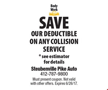Save Our Deductible On Any Collision Service. *See estimator for details. Must present coupon. Not valid with other offers. Expires 6/26/17.