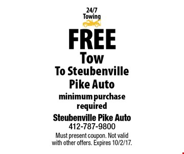 Free Tow To Steubenville Pike Auto minimum purchase required. Must present coupon. Not valid with other offers. Expires 10/2/17.