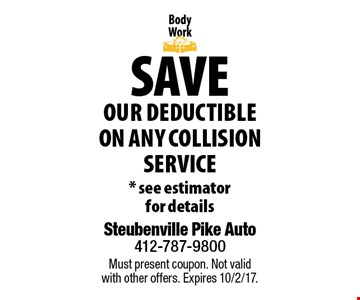 Save Our Deductible On Any Collision Service * see estimator for details . Must present coupon. Not valid with other offers. Expires 10/2/17.