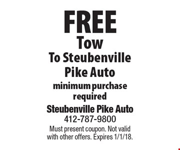 Free Tow To Steubenville Pike Auto minimum purchase required. Must present coupon. Not valid with other offers. Expires 1/1/18.