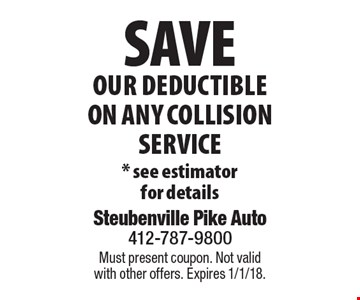 Save Our Deductible On Any Collision Service * see estimator for details . Must present coupon. Not valid with other offers. Expires 1/1/18.