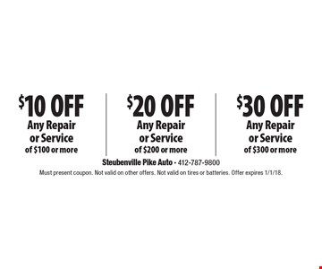 $30 Off Any Repair or Service of $300 or more. $20 Off Any Repair or Service of $200 or more. $10 Off Any Repair or Service of $100 or more. Must present coupon. Not valid on other offers. Not valid on tires or batteries. Offer expires 1/1/18.