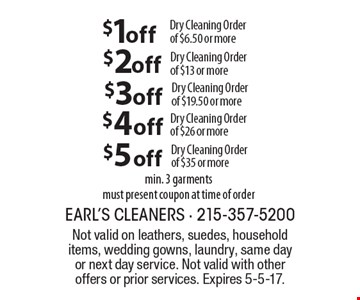 $1 off Dry Cleaning Order of $6.50 or more. $2 off Dry Cleaning Order of $13 or more. $3 off Dry Cleaning Order of $19.50 or more. $4 off Dry Cleaning Order of $26 or more. $5 off Dry Cleaning Order of $35 or more. Min. 3 garments. Must present coupon at time of order. Not valid on leathers, suedes, household items, wedding gowns, laundry, same day or next day service. Not valid with other offers or prior services. Expires 5-5-17.