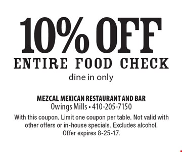 10% off ENTIRE FOOD CHECK. Dine in only. With this coupon. Limit one coupon per table. Not valid with other offers or in-house specials. Excludes alcohol. Offer expires 8-25-17.
