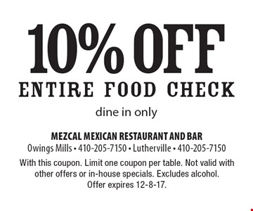 10% off Entire Food Check. Dine in only. With this coupon. Limit one coupon per table. Not valid with other offers or in-house specials. Excludes alcohol. Offer expires 12-8-17.