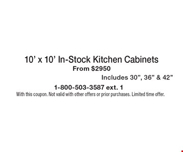 10' x 10' In-Stock Kitchen Cabinets From $2950. Includes 30