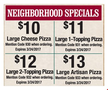 Neighborhood Specials