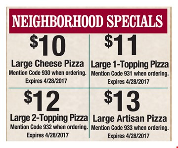 $10 to $13 Neighborhood Specials