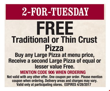 Free Traditional or Thin Crust Pizza