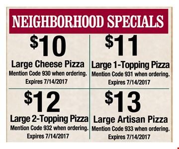 Neighborhood Specials as low as $10