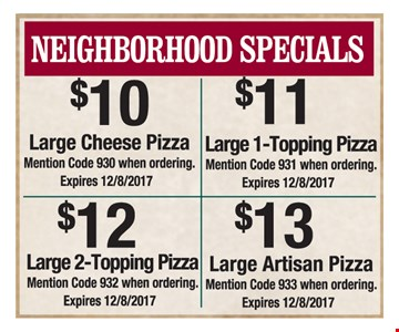 Large pizza for as low as $10.