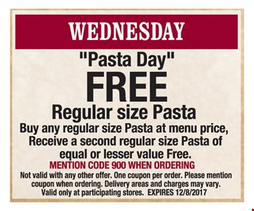Free regular sized pasta with pasta purchase.