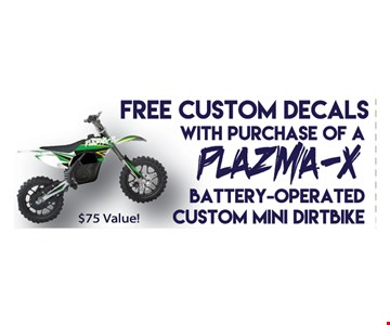 Free custom decals with purchase of a plasma-x battery operated custom mini dirt bike