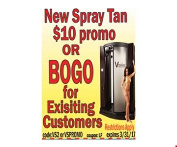 new spray tan $10 promo