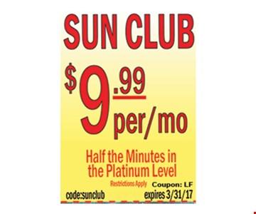 sun club $9.99 per month
