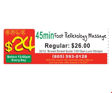 45 minute foot reflexology massage